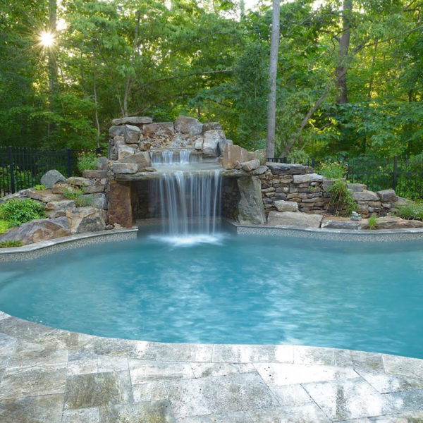 Hardscape Design: Waterfall In-Ground Pool